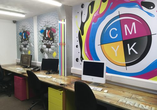 Wall Vinyl, Desk Wrapping, Environment Branding